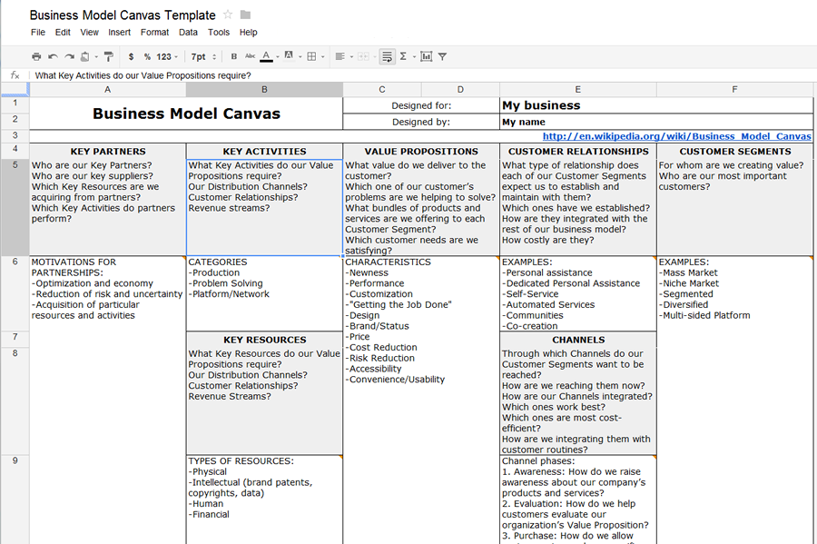 How to create a Business Model Canvas with MS Word or Google