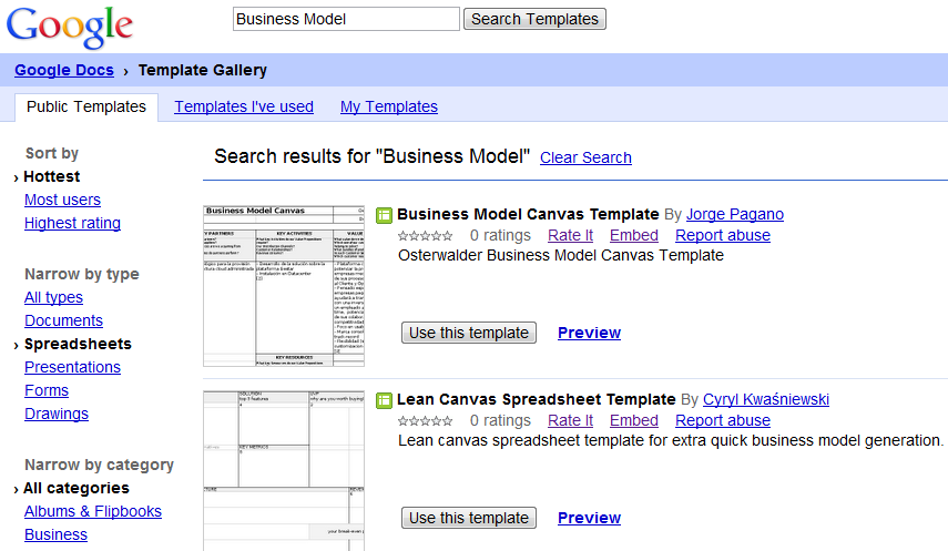 how to create a business model canvas with ms word or google docs